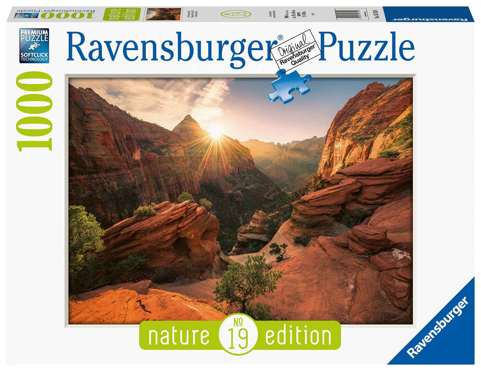 Puzzle Ravensburger Cañón Zion, Estados Unidos de 1000 Piezas
