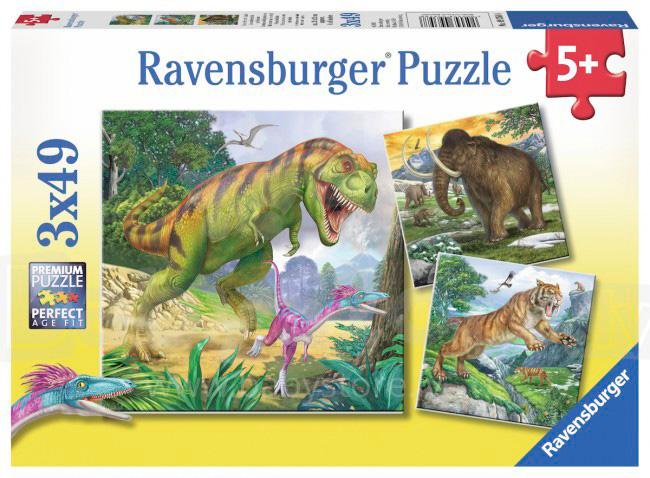 Puzzle Ravensburger Dinosaurios de 3x49 Piezas