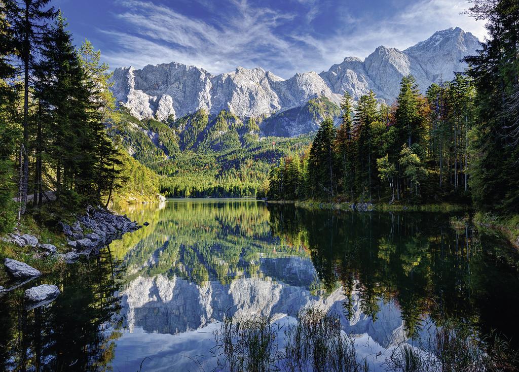 Puzzles de Paisajes, Puzzle Ravensburger El Lago de Eib, Montañas Wetterstein de 1000