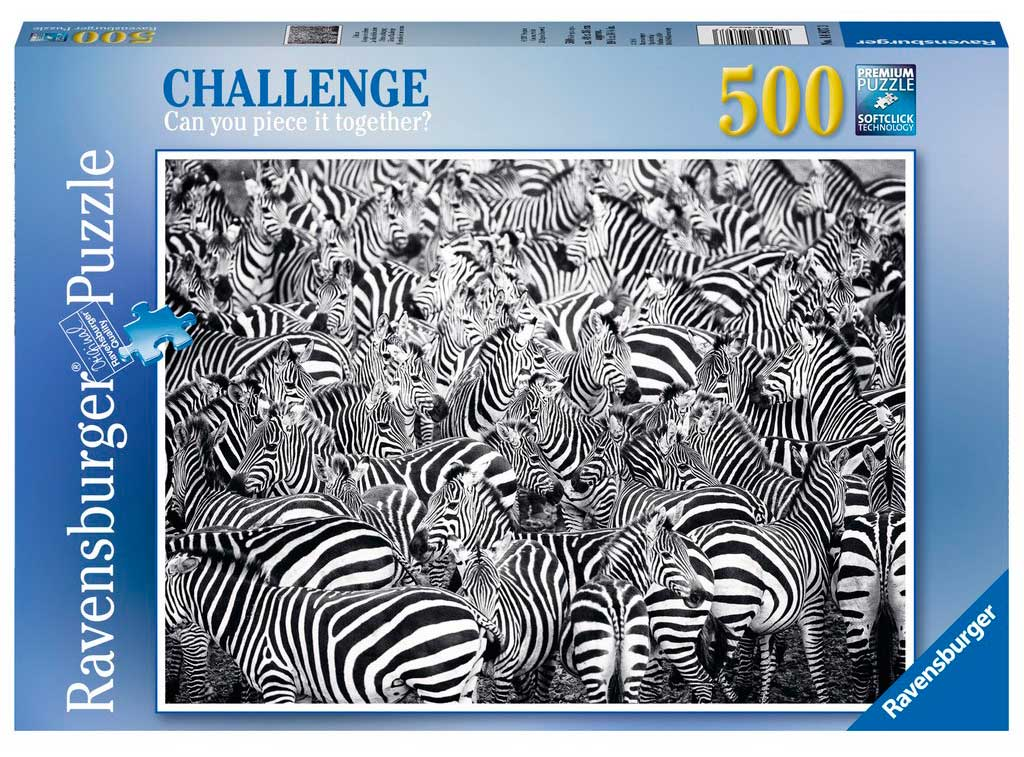 Puzzle Ravensburger El Reto de las Cebras 500 Piezas