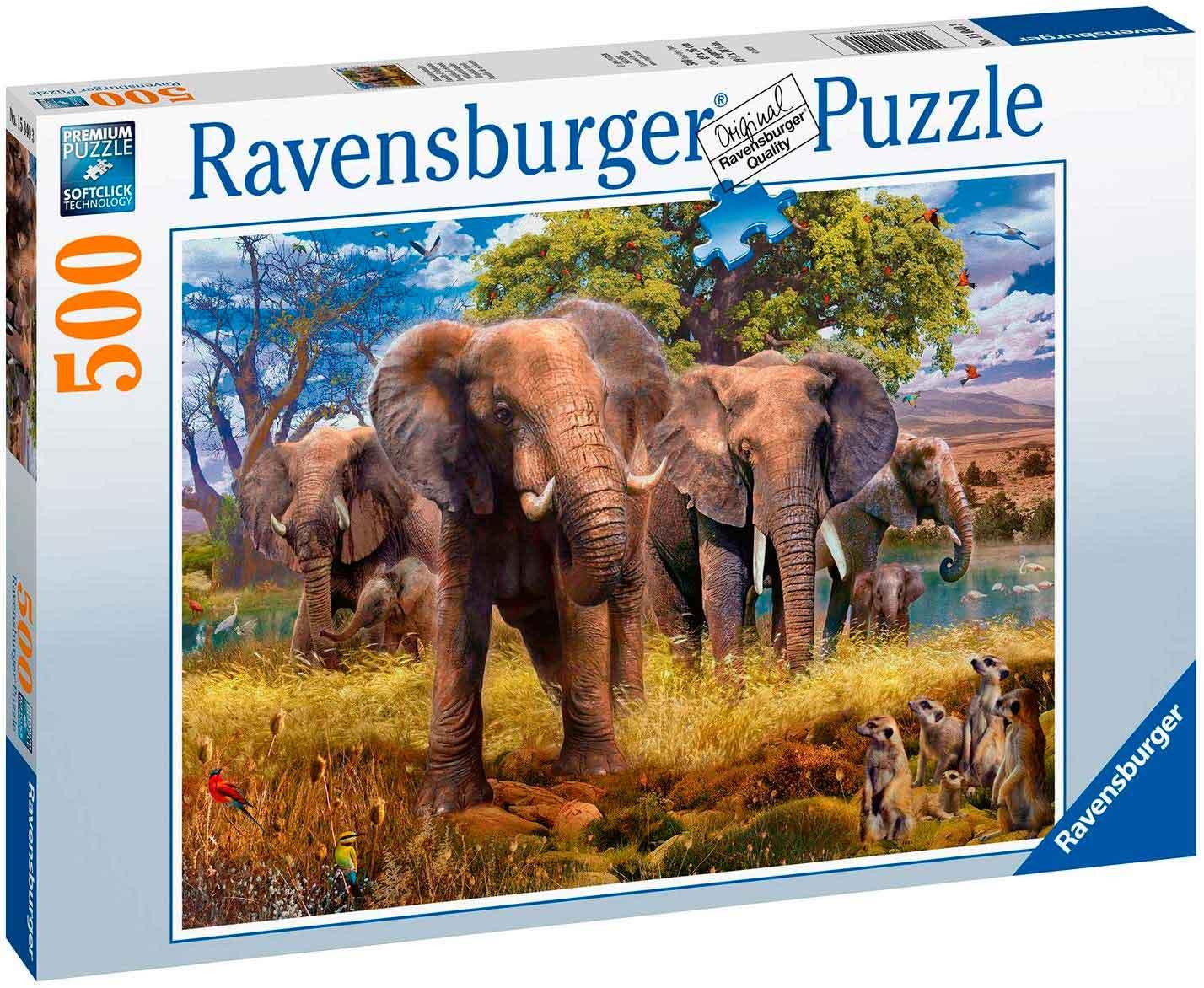 Puzzle Ravensburger Familia de Elefantes 500 Piezas