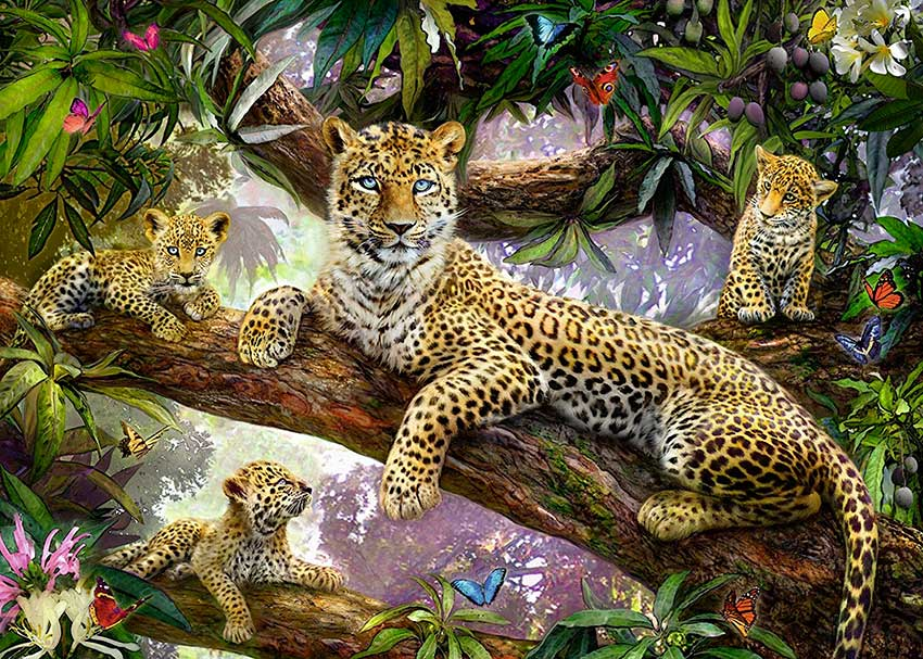 Puzzle Ravensburger Familia de Leopardos de 1000 Piezas