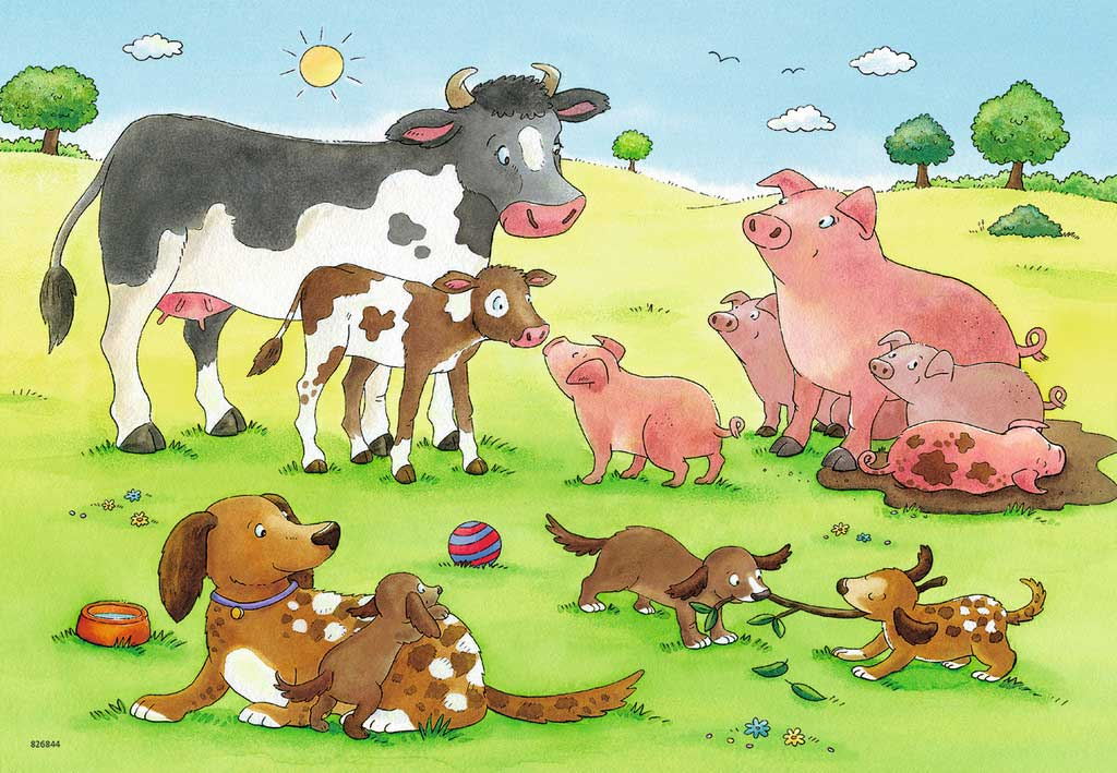 Puzzle Ravensburger Familias Animales de 2x12 Piezas