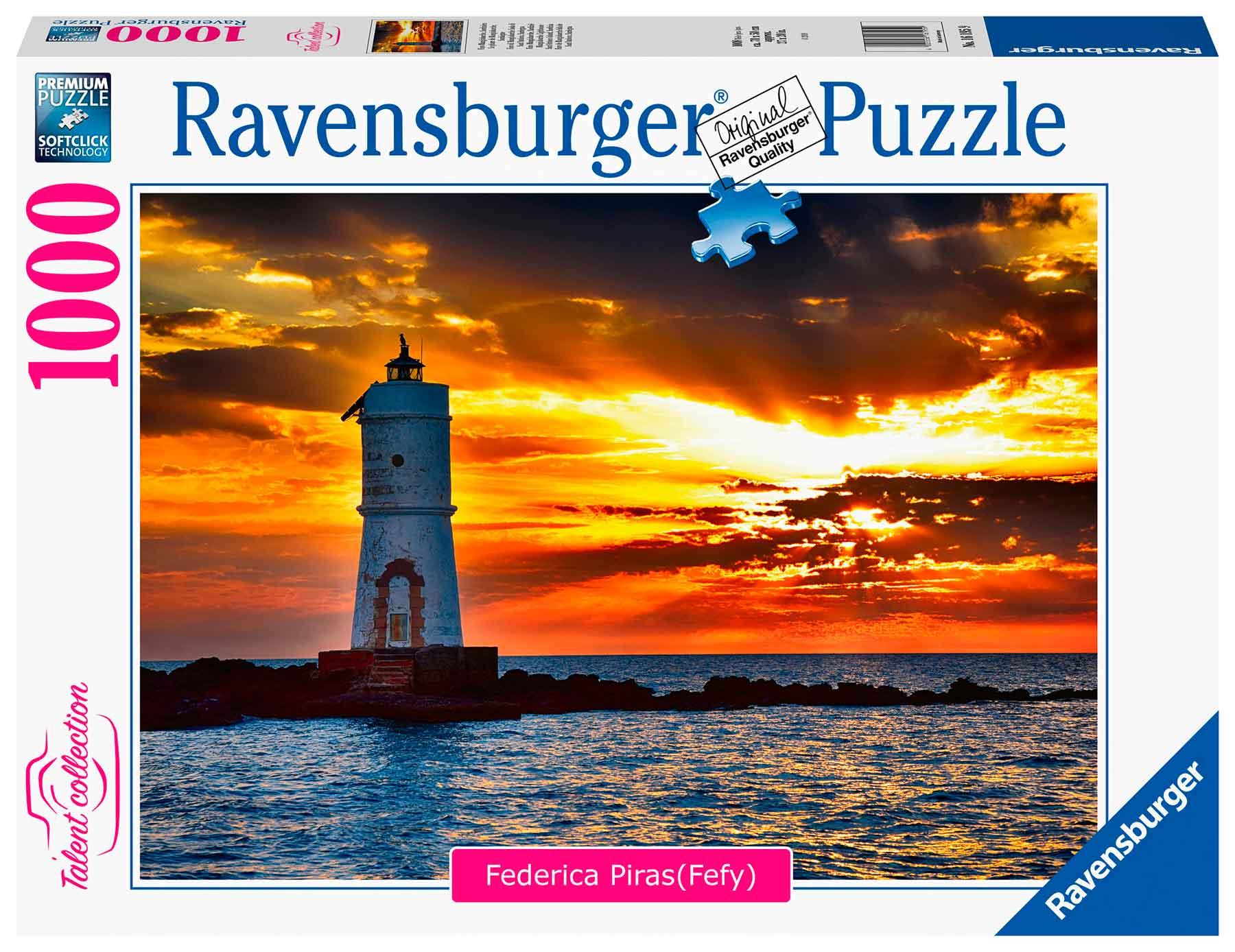 Puzzle Ravensburger Faro de Mangiabarche, Cerdeña de 1000 Pzs