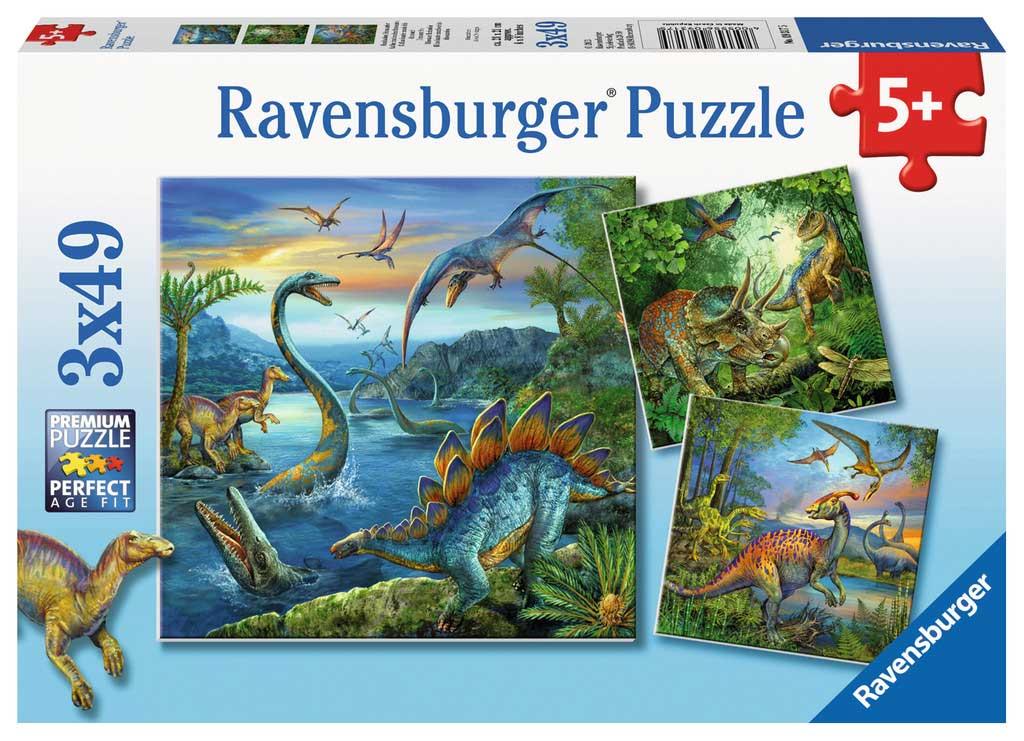 Puzzle Ravensburger Fascinante Mundo de Dinosaurios de 3x49 pcs