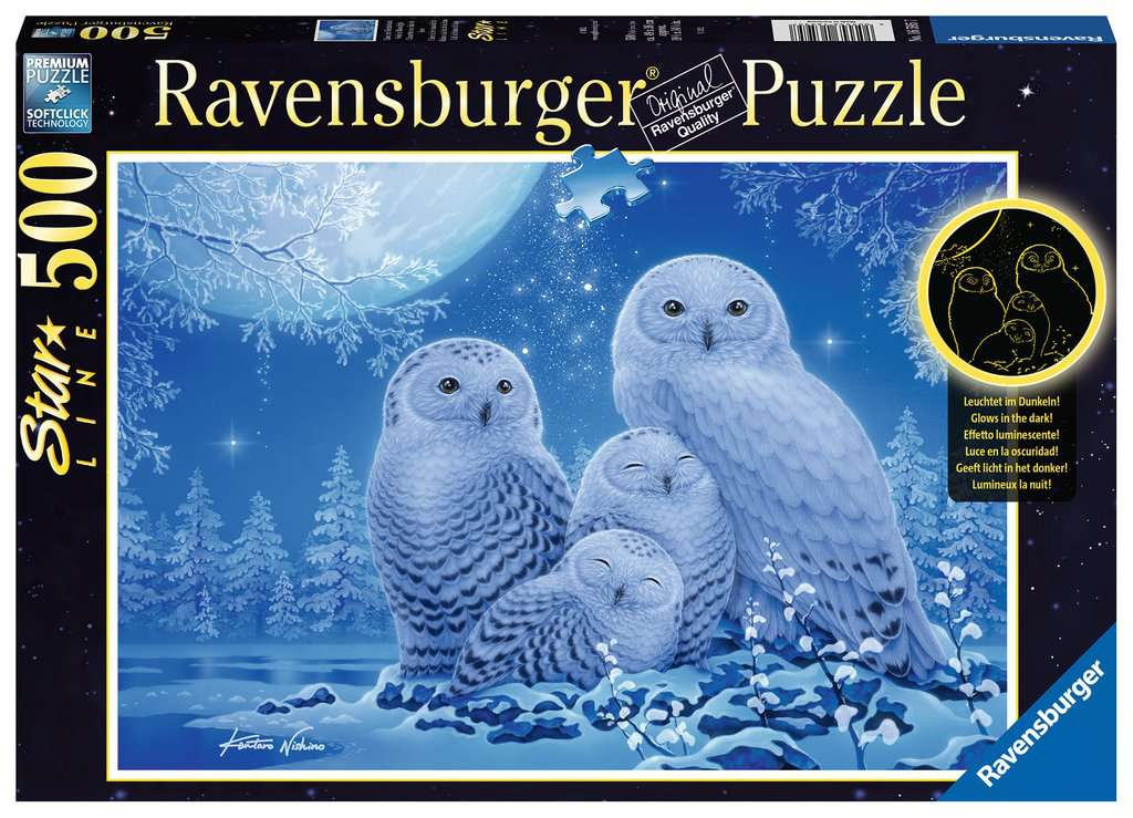 Puzzle Ravensburger Fosforescente Búhos a la Luz de la Luna 500