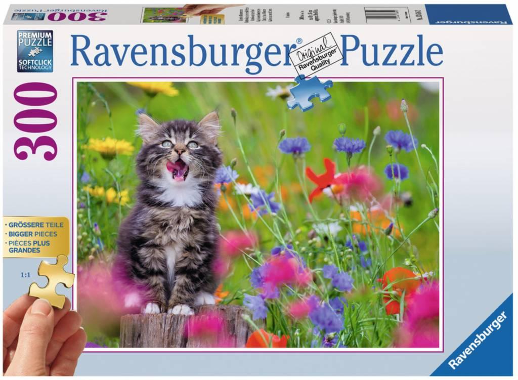 Puzzle Ravensburger Gatito en un Mar de Flores de 300 Piezas XXL