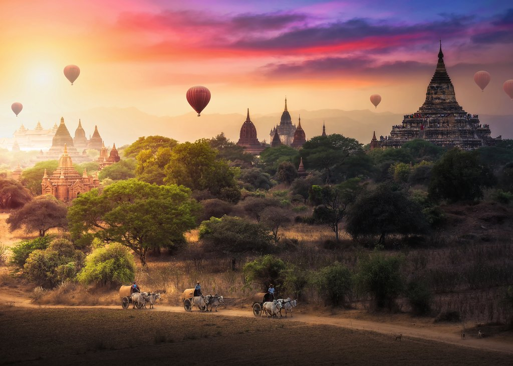 Puzzle Ravensburger Globos Aerostáticos en Myanmar  de 1000 Piez