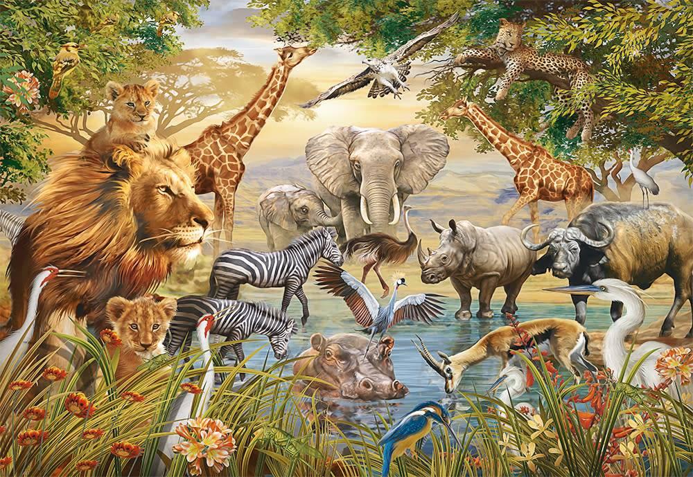 Puzzle Ravensburger Grandes Animales en Torno al Estanqe de 500