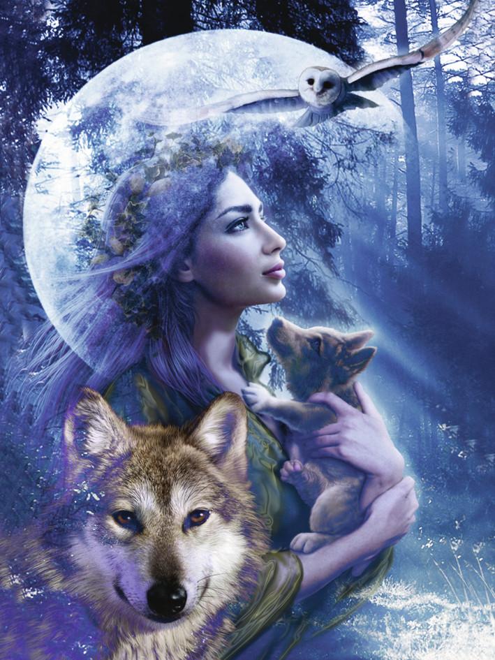 Puzzle Ravensburger La Mujer y el Lobo de 1000 Piezas