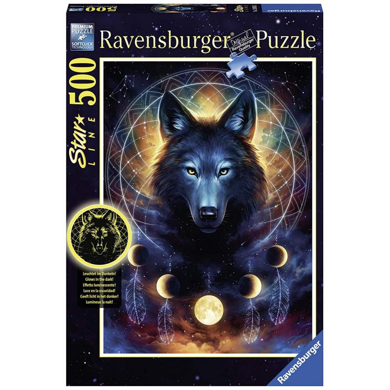 Puzzle Ravensburger Lobo Negro Fosforescente de 500 Piezas