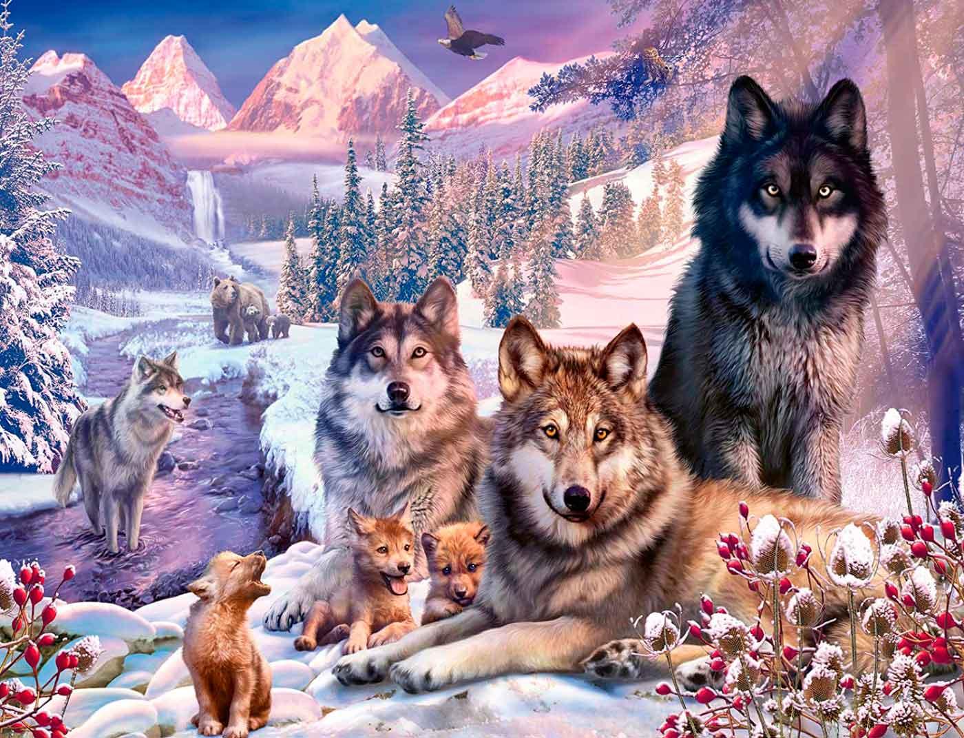Puzzle Ravensburger Lobos en la Nieve de 2000 Piezas