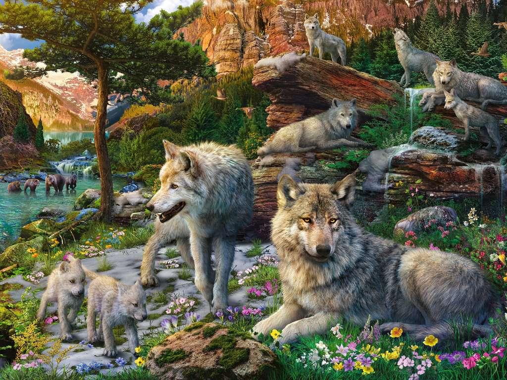 Puzzle Ravensburger Lobos en Primavera de 1500 Piezas