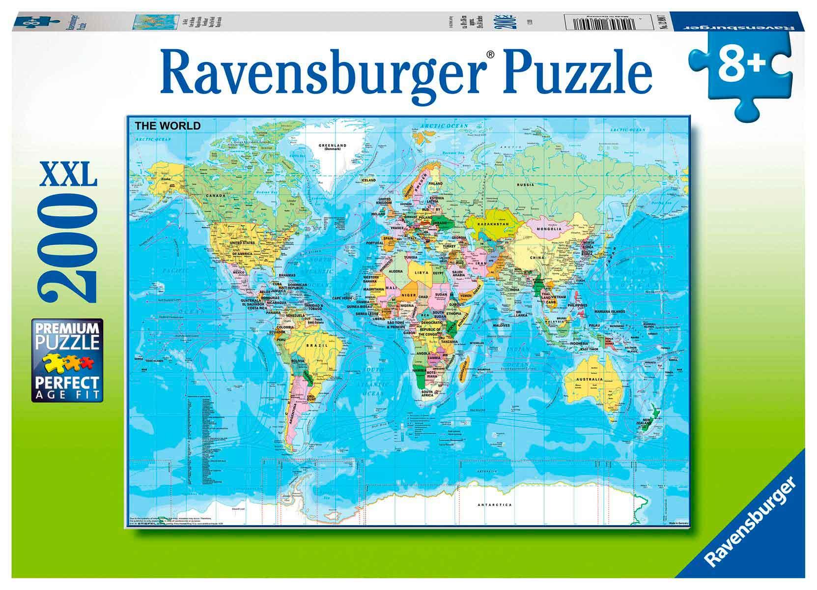 Puzzle Ravensburger Mapa del Mundo XXL de 200 Piezas