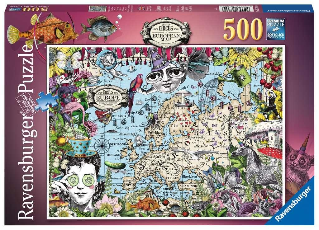Puzzle Ravensburger Mapa Europeo, Circo Peculiar de 500 Piezas