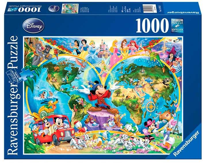 Puzzle Ravensburger Mapamundi Disney de 1000 Piezas