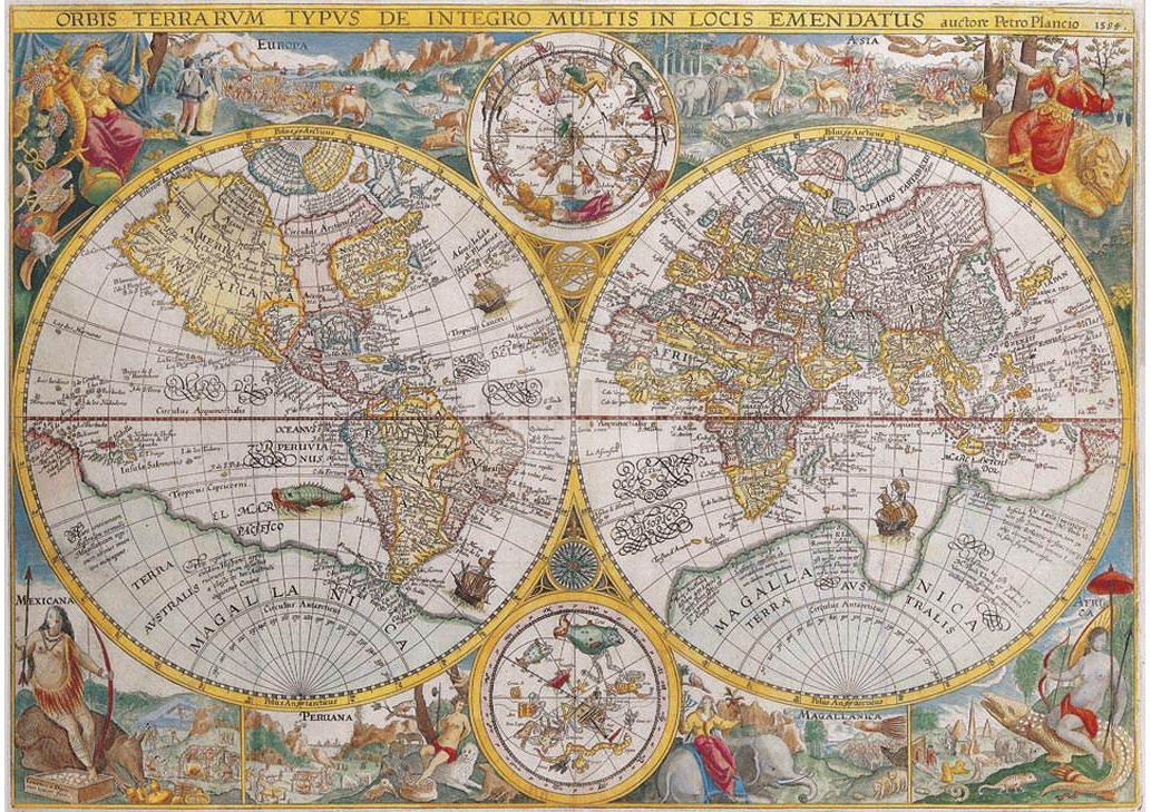 Puzzle Ravensburger Mapamundi Historico de 1500 Piezas