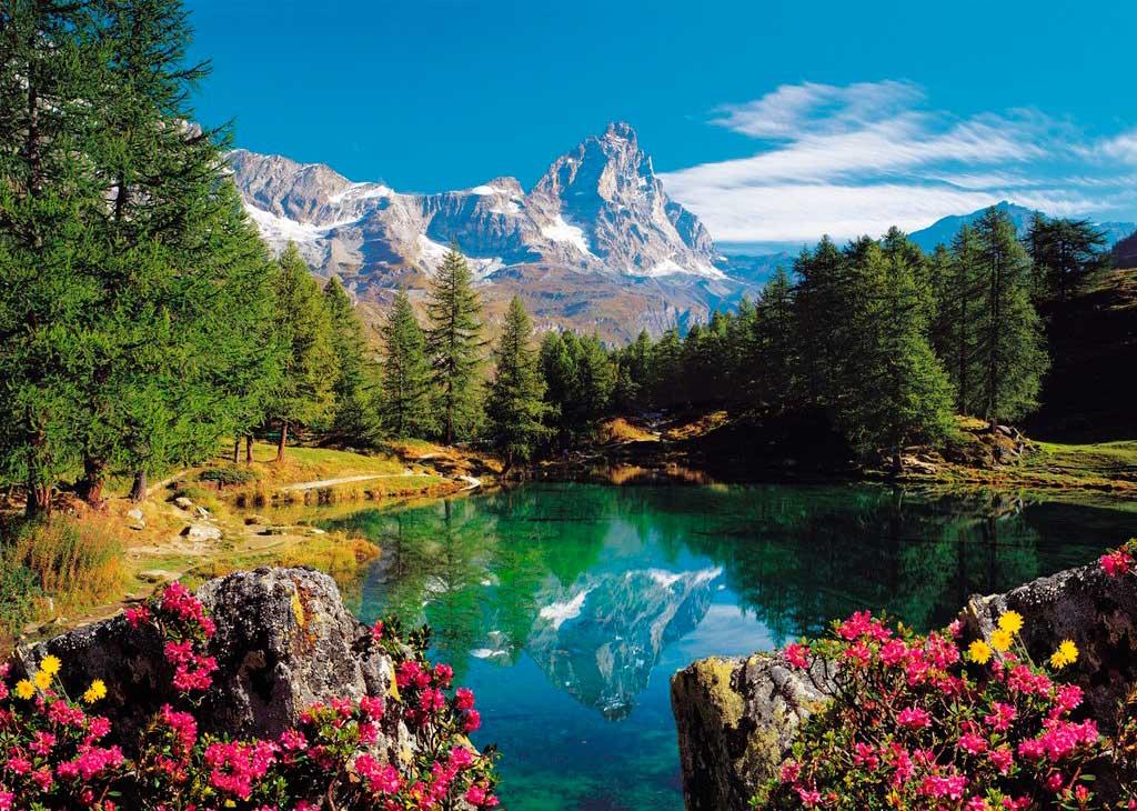 Puzzle Ravensburger Matterhorn, Lago de Montaña de 1500 Piezas