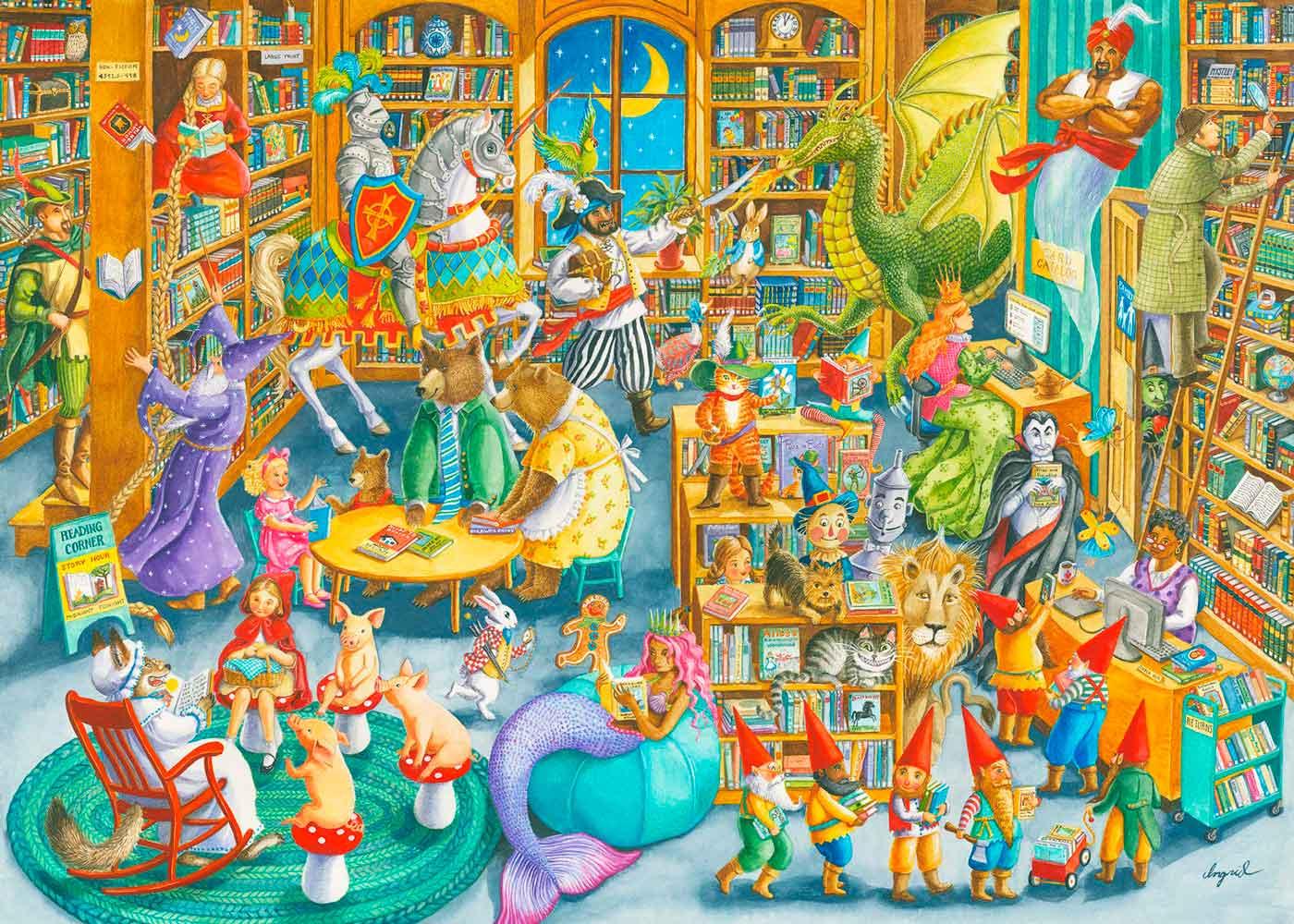 Puzzle Ravensburger Medianoche en la Biblioteca de 1000 Piezas