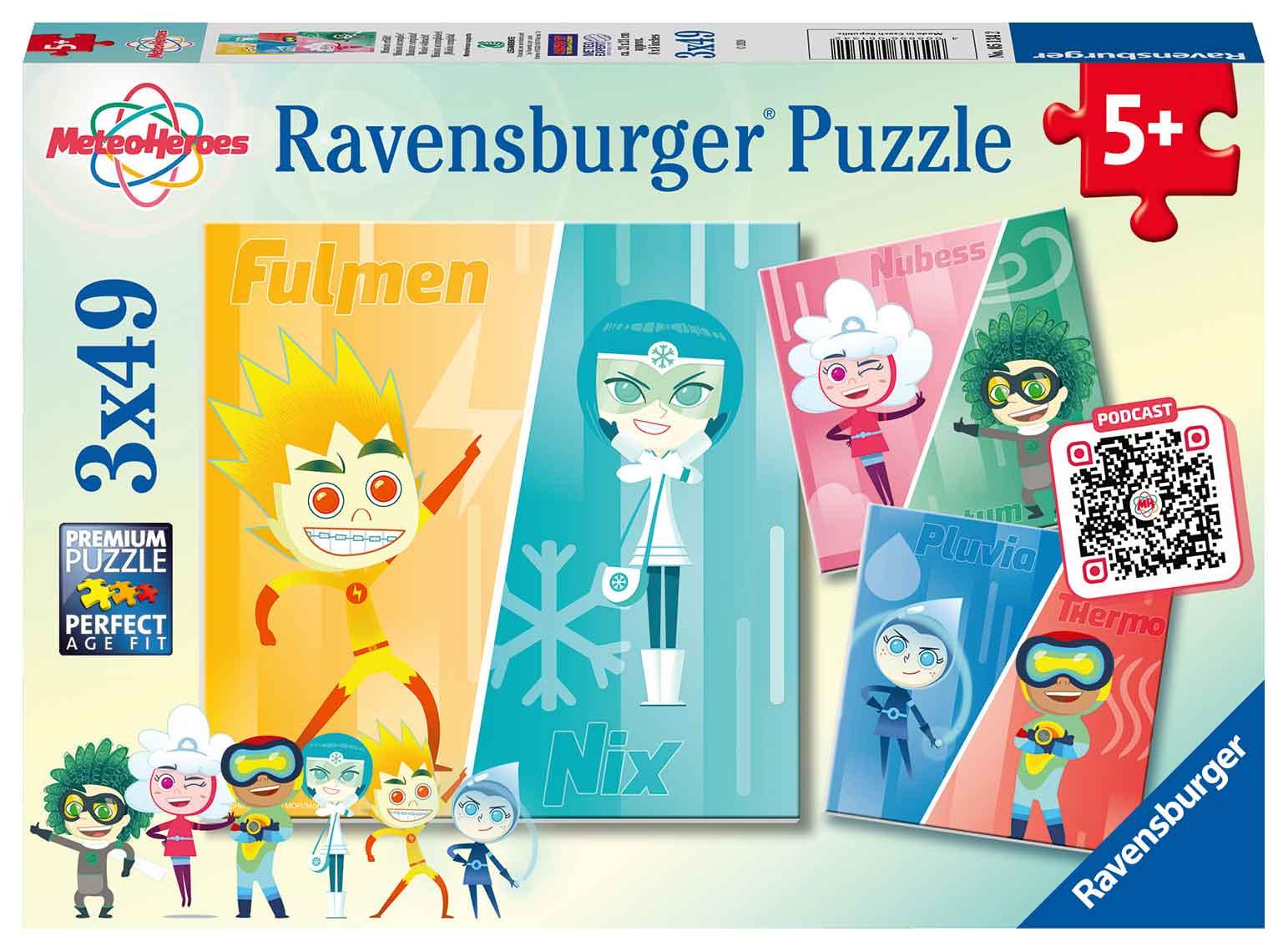 Puzzle Ravensburger Meteo Héroes de 3x49 Piezas