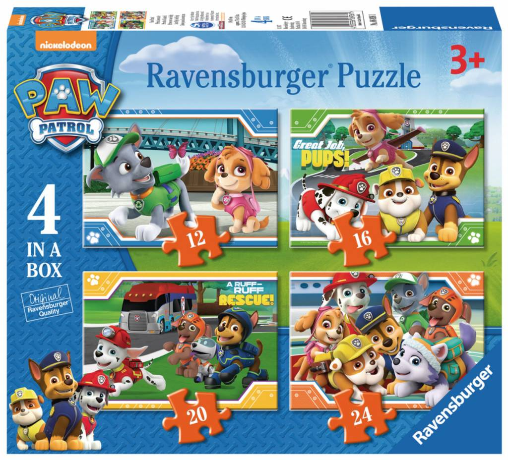 Puzzle Ravensburger Patrulla Canina, Progresivo de 12+16+20+24 P