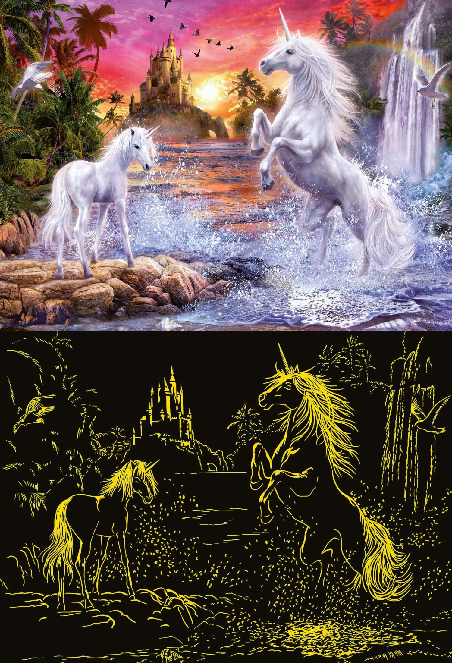 Puzzle Ravensburger Romance de Unicornios, Fosforescente de 500