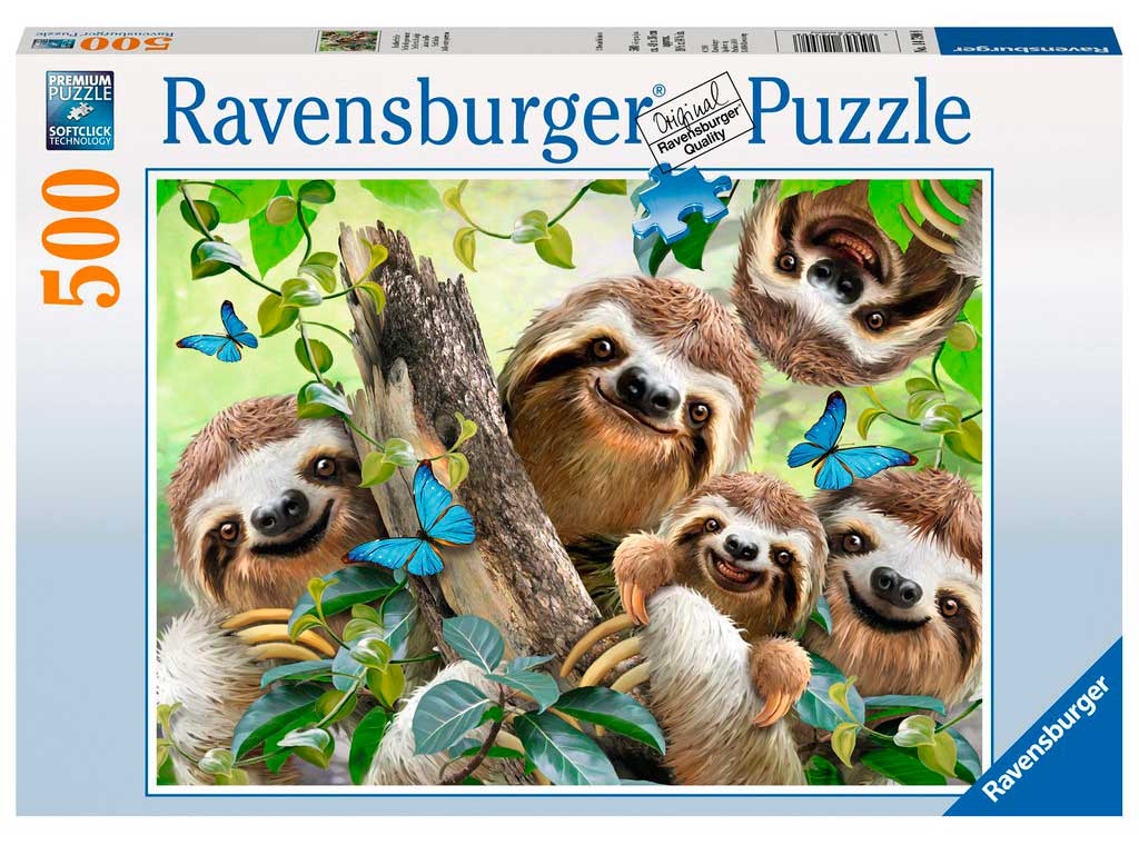 Puzzle Ravensburger Selfie entre Perezosos, 500 Piezas