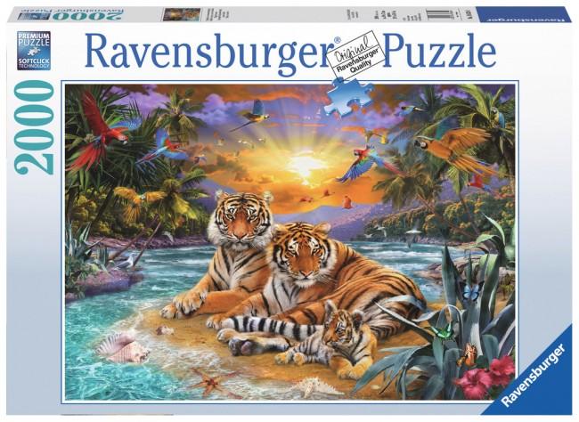 Puzzle Ravensburger Tigres al Atardecer de 2000 Piezas