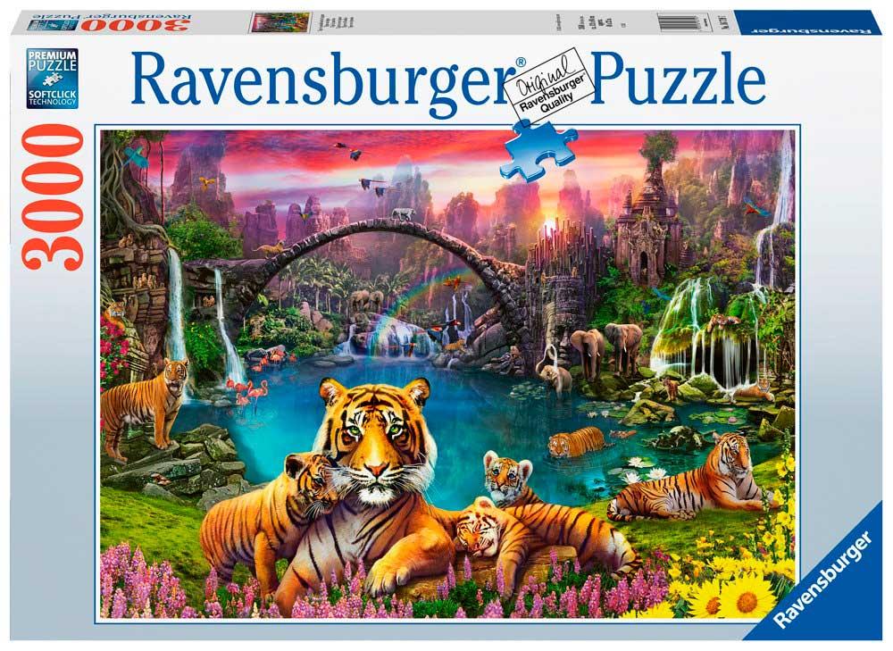 Puzzle Ravensburger Tigres en Laguna Paradisíaca de 3000 Piezas