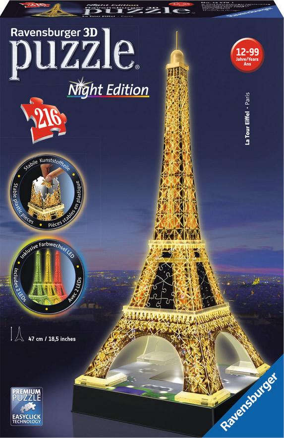 Puzzle Ravensburger Torre Eiffel Night Edition 3D 3D 216 Piezas