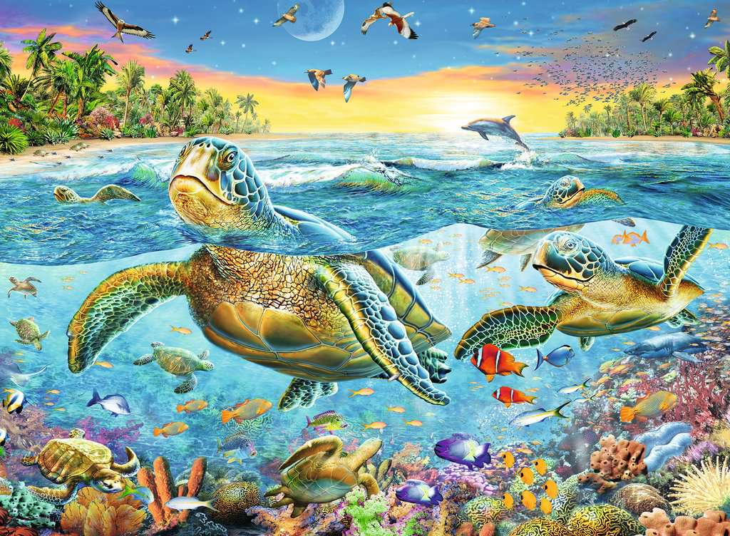 Puzzle Ravensburger Tortugas de Mar XXL de 100 Piezas