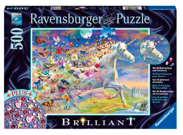 Puzzle Ravensburger Unicornio y sus Mariposas de 500 Piezas