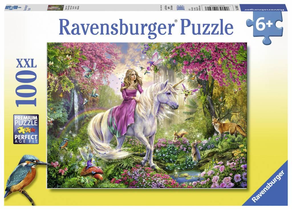 Puzzle Ravensburger Cabalgando en Unicornio XXL de 100 Piezas