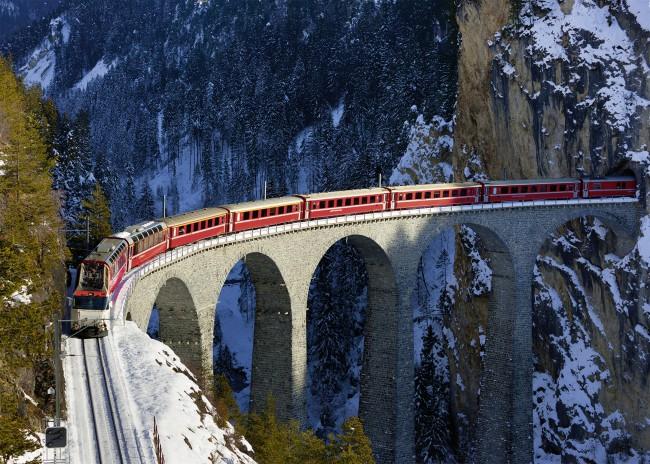 Puzzle Ravensburger Viaducto de Landwasser, Suiza de 1000 Piezas