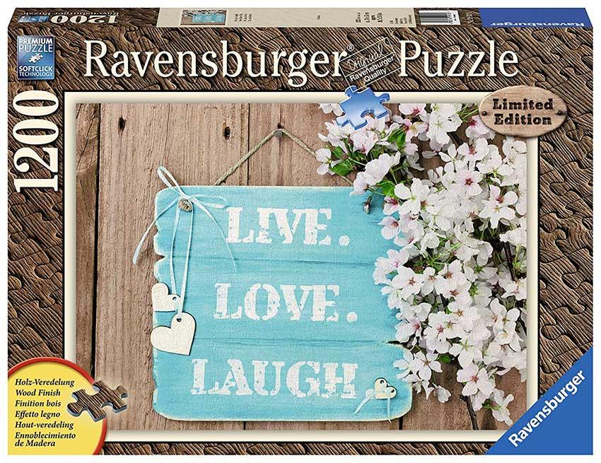 Puzzle Ravensburger Vive, Ama y Sonrie Efecto Madera 1200 Piezas
