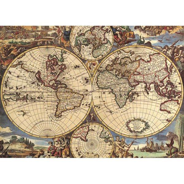 Puzzle Ricordi Mapa Antiguo del Mundo de 1000 Piezas
