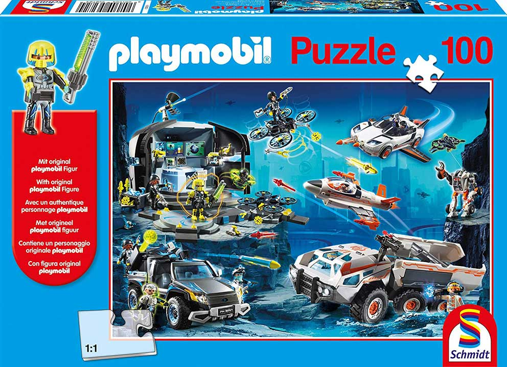 Puzzle Schmidt Agentes Especiales de Playmobil de 100 Piezas