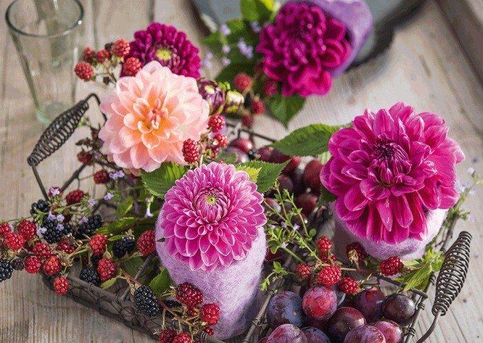 Puzzle Schmidt Bodegón de Flores y Frambuesas de 1000 Piezas