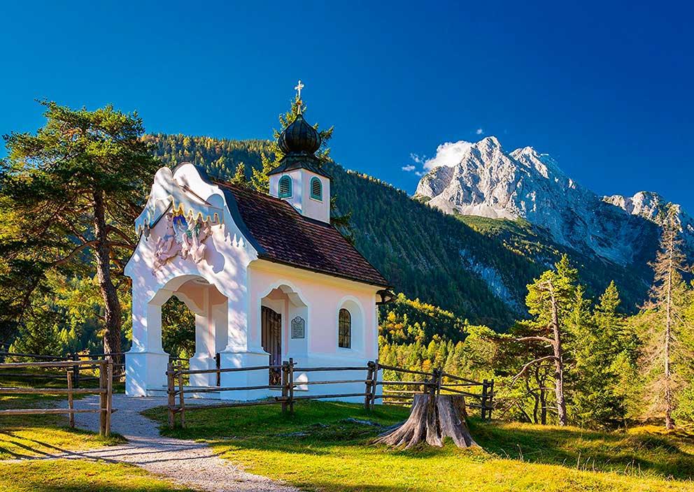 Puzzle Schmidt Capilla en Bavaria, Los Alpes  de 1000 Piezas