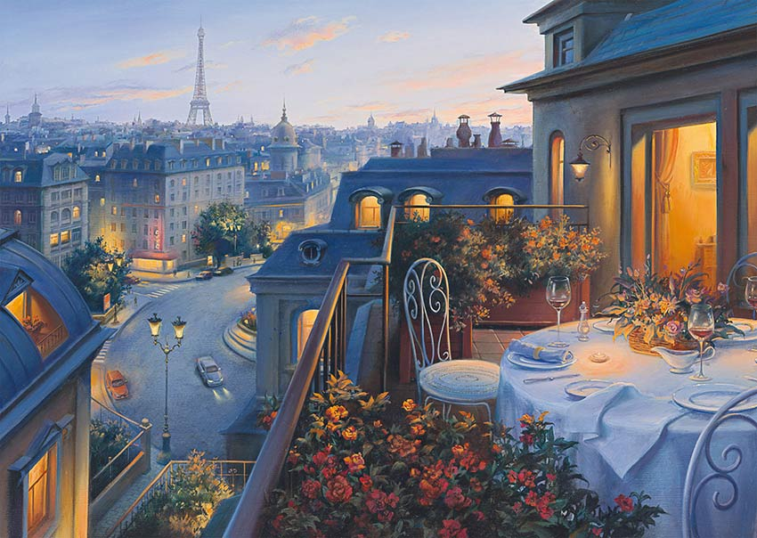 Puzzle Schmidt Cena Romántica en París de 1000 Piezas