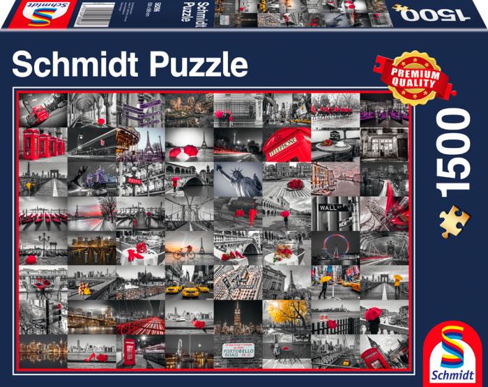 Puzzle Schmidt Collage de Ciudades del Mundo de 1500 Piezas