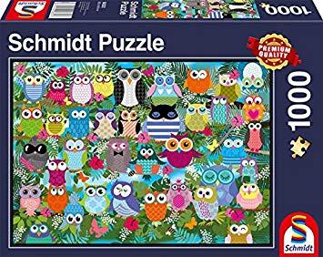 Puzzle Schmidt Collage de Buhos de 1000 Piezas