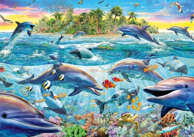 Puzzle Schmidt Delfines al Atardecer de 500 Piezas