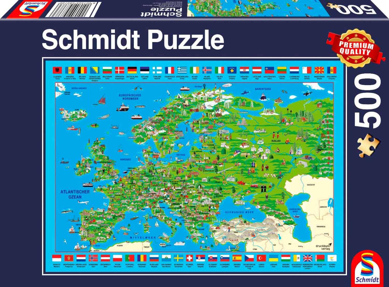 Puzzle Schmidt Descubra Europa de 500 Piezas
