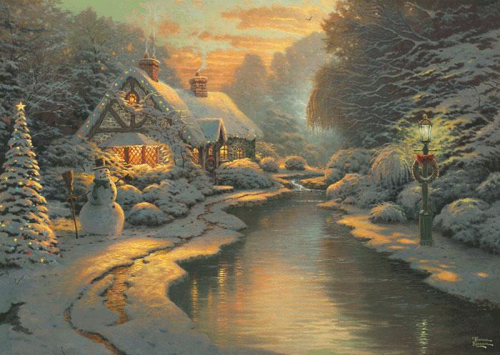 Puzzle Schmidt Día de Nochebuena en la Cabaña de 1000 Piezas