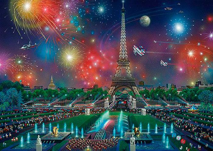 Puzzle Schmidt Fuegos Artificiales en la Torre Eiffel de 1000 Pz