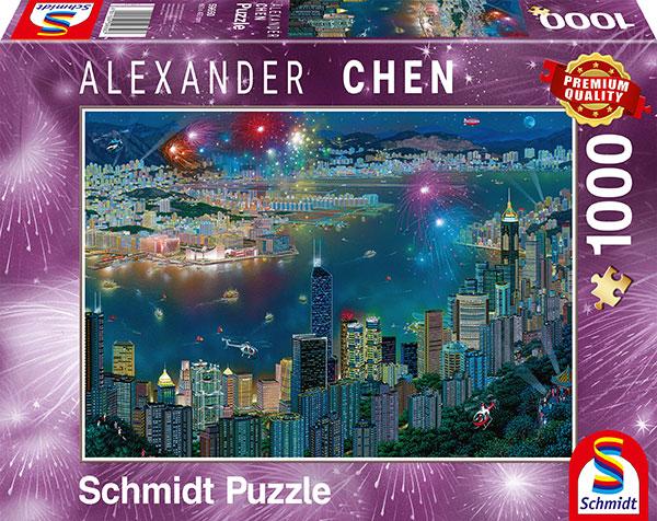 Puzzle Schmidt  Fuegos Artificiales Sobre Hong Kong de 1000 Piez
