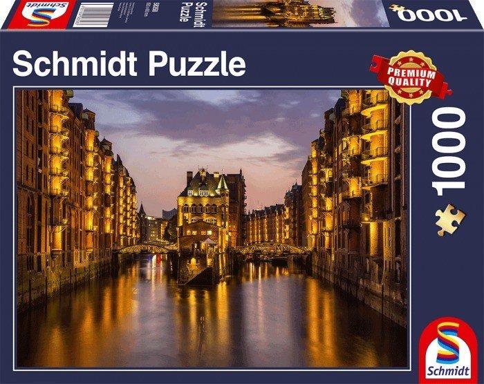Puzzle Schmidt Hamburgo Speicherstadt, Alemania de 1000 Piezas