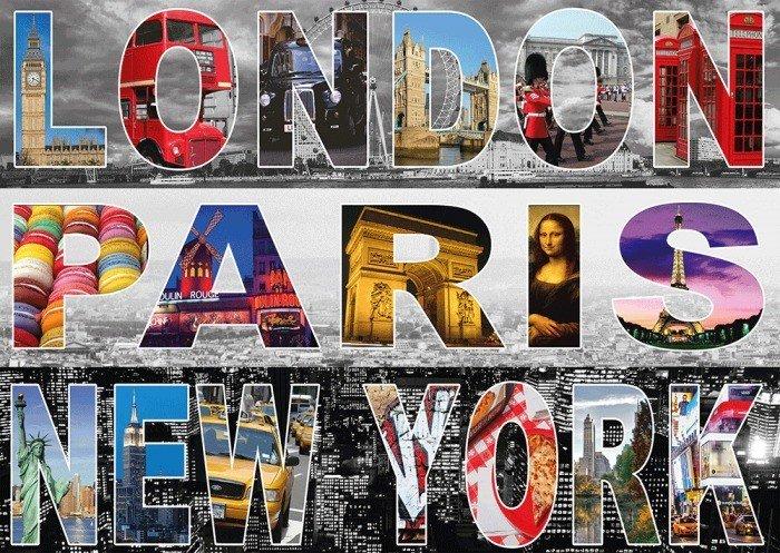 Puzzle Schmidt Londres, París, Nueva York de 1000 Piezas
