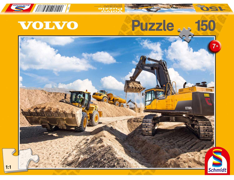 Puzzle Schmidt Máquinas Volvo L120GZ, A40F y EC750  150 Piezas